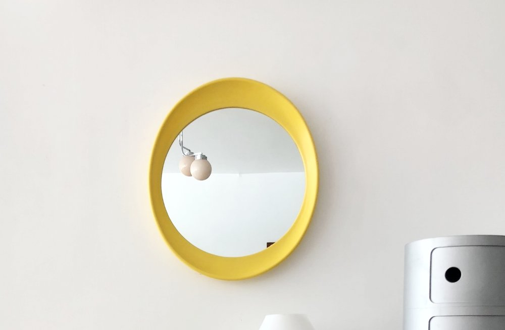1970s Yellow Plastic Wall Mirror