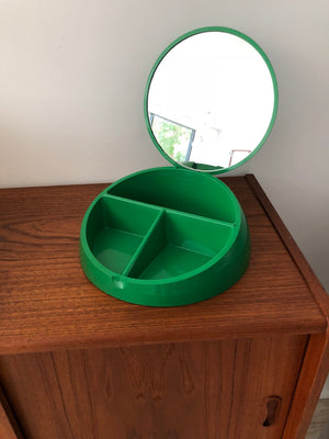 Space Age Kelly Green Plastic Italian Jewelry Box / Vanity