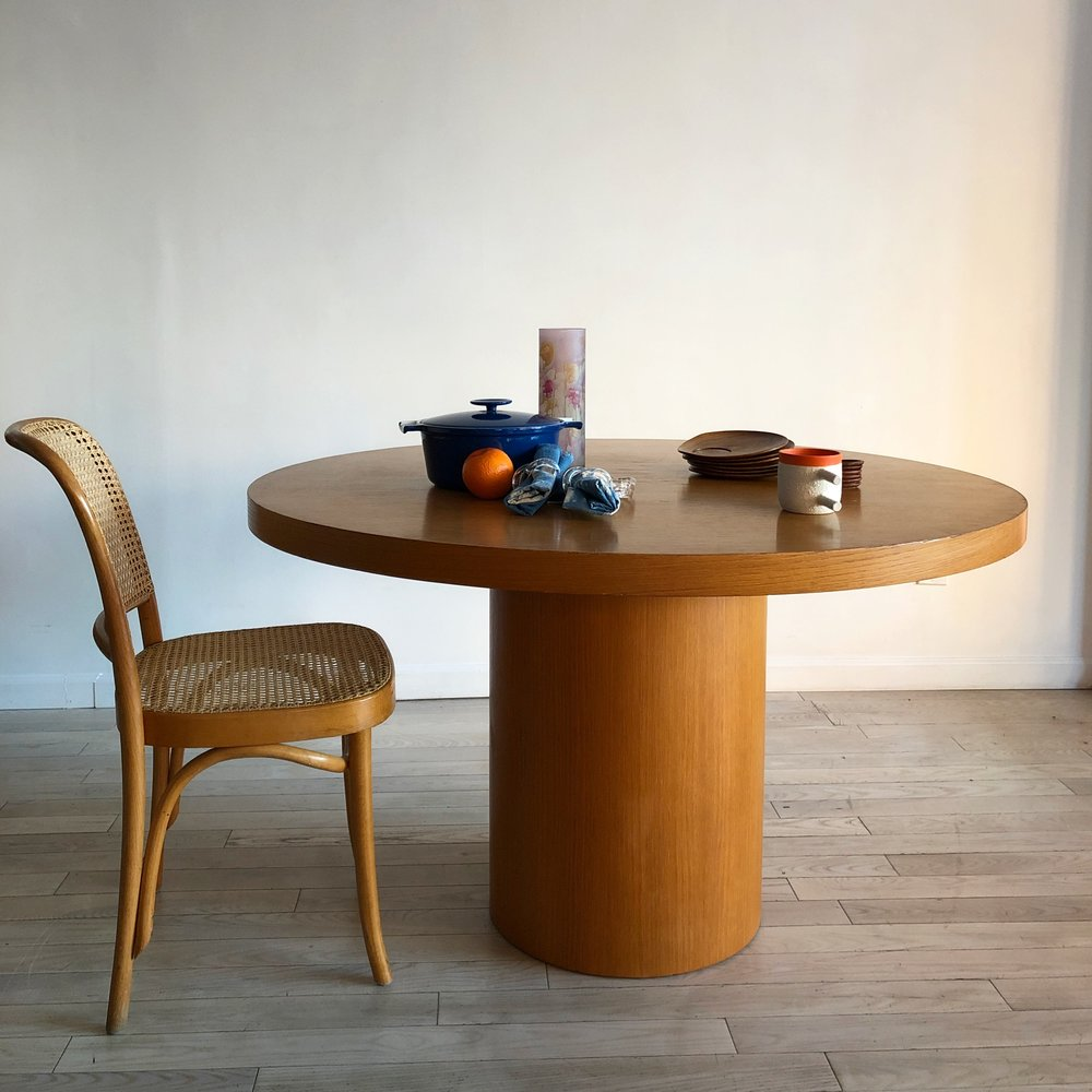 1970s Round Oak Drum Dining Table