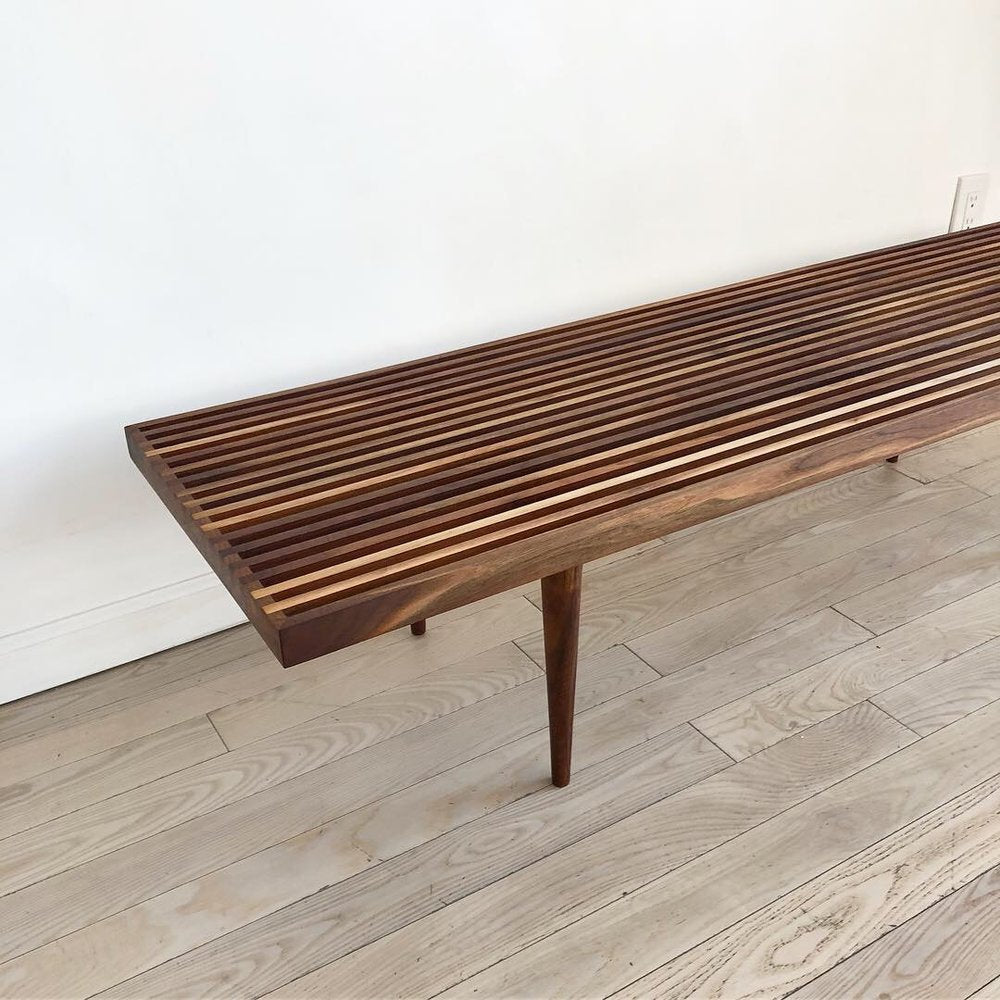 1950s Mel Smilow Refinished Slat Bench