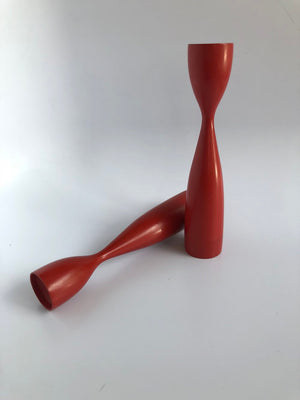 Mid-Century Red Danish Wooden Candle Stick Holders-Pair