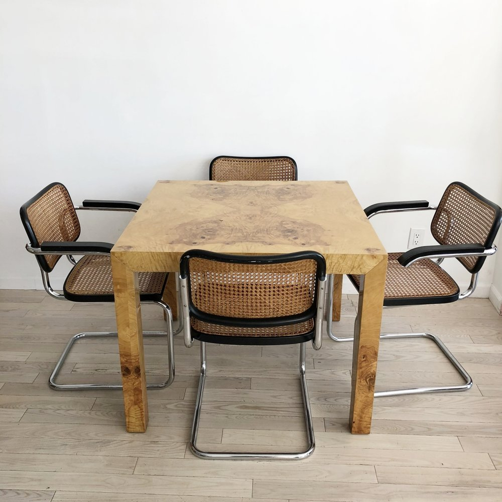 1970s Olive Burl Milo Baughman Square Dining Table