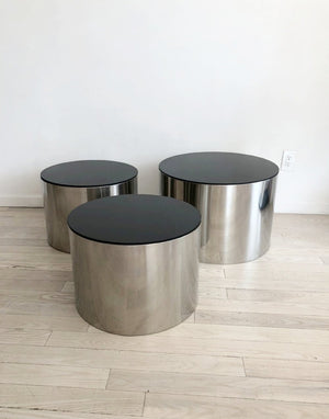 1970s Milo Baughman for Thayer Coggin Steel Drum Tables-single