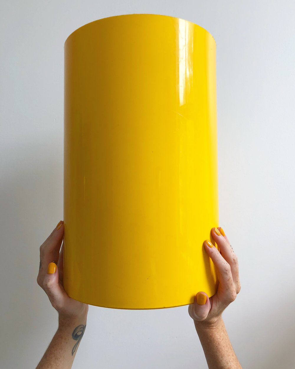 1970 Yellow Plastic Kartell Bin Designed by Gino Colombini