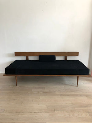 Mid-Century Daybed Sofa in New Black Cotton Velvet