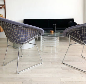 1970s Authentic and Original Knoll Bertoia Diamond Wire Chairs in Periwinkle