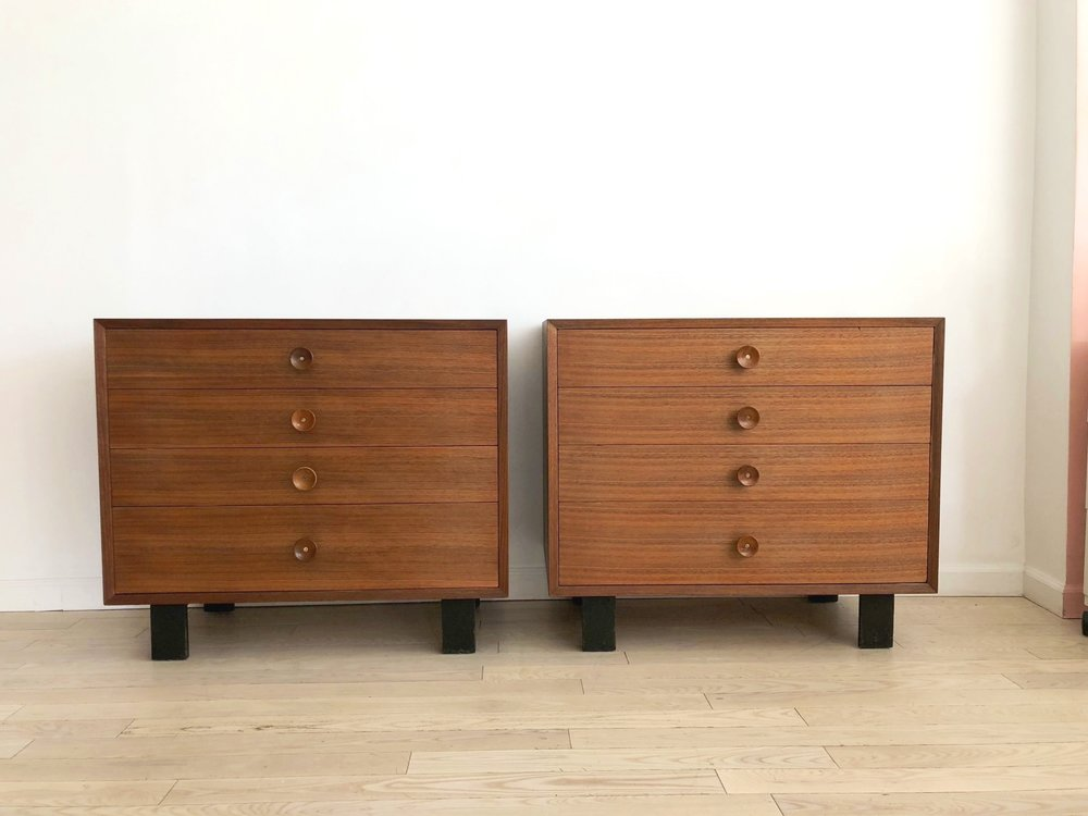 1950s George Nelson for Herman Miller Walnut Dresser w/ Cupcake Pulls-Single