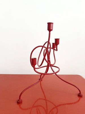 Vintage Red Twiste Candle Stick Holder