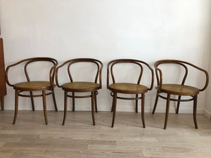 Mid Century Hand Caned Thonet B9 Bentwood Armed Chairs- Pair