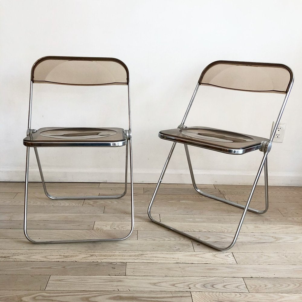 "1970s Italian ""Plia"" Smoked Lucite Folding Chairs by Giancarlo Piretti for Castelli"