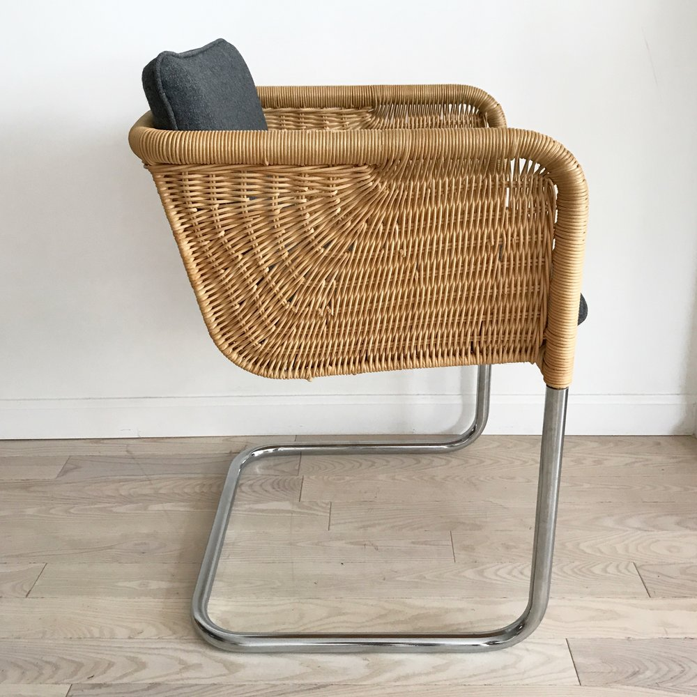 1970s Harvey Probber Wicker Cantilever Chair