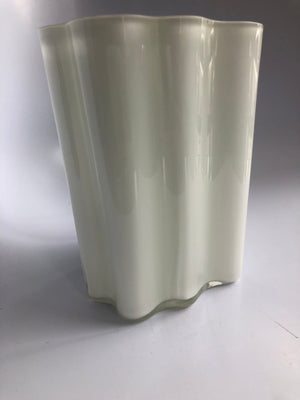 Iitala White Cloud Glass Vase, Made in Finland