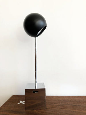 Mid Century Orb Lamp with Chrome Square Base