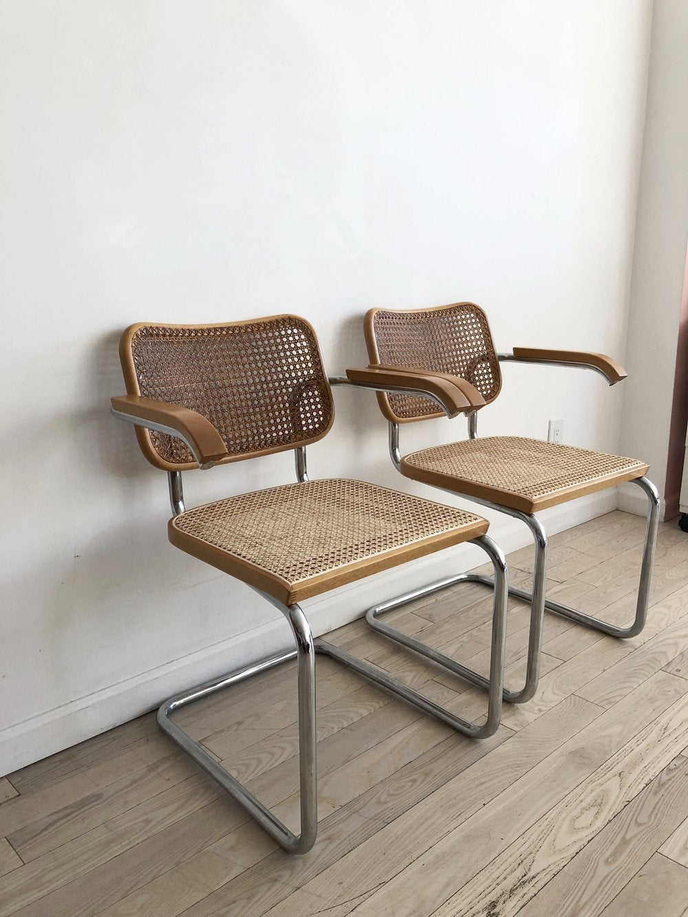 1973 Marcel Breuer Cane Cesca Armed Chairs by Knoll Produced by Gavina - PAIR
