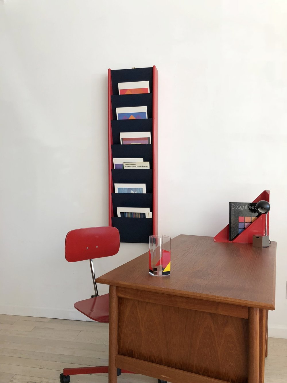 1970s Red + Navy Wall Mounted Magazine Rack By Peter Pepper Products