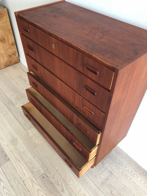Mid Century Teak Danish Tallboy Chest of Drawers