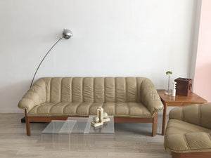 1970's Danish Teak and Leather Sofa