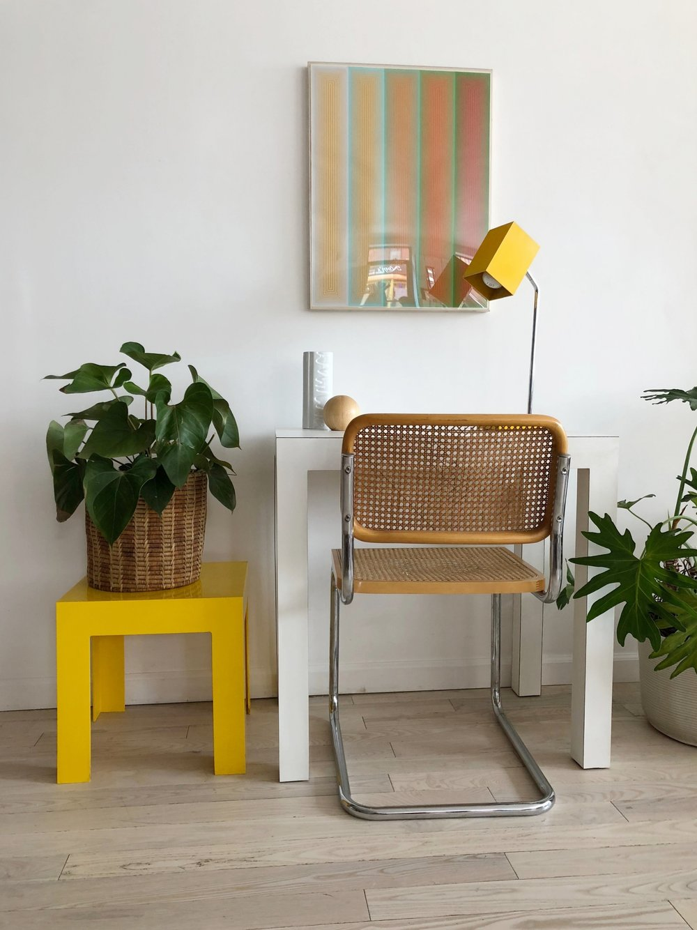 1970s Yellow Plastic Side Table-Single