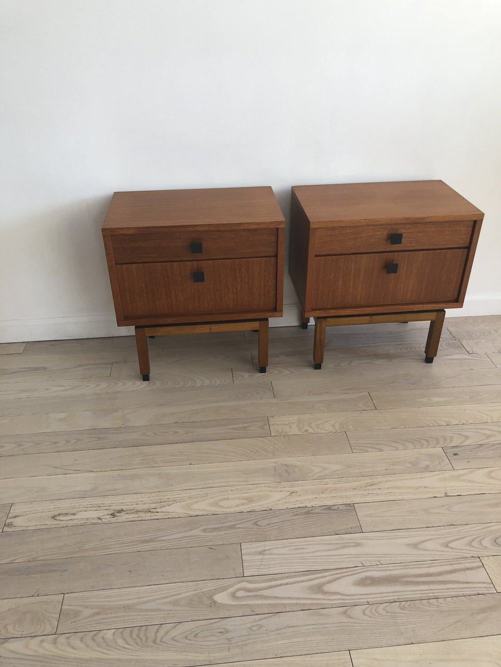 Mid Century Teak Scandinavian Pair of Bedside Tables