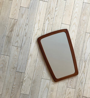 Mid Century Curved Edge Teak Wall Mirror From Denmark