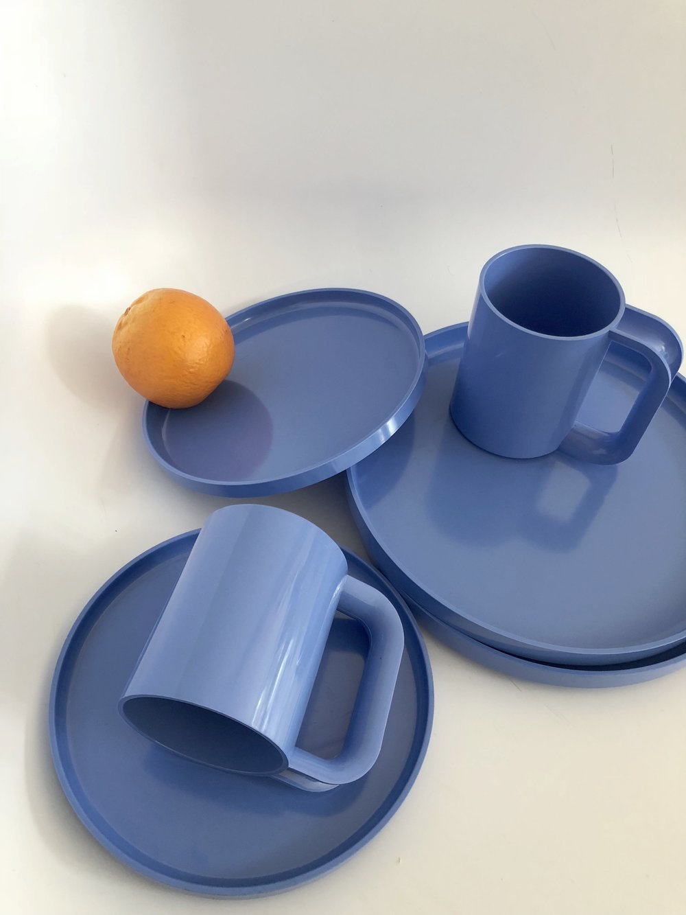Vintage Perriwinkle Blue Plastic Heller for 2 set-6 Piece Set