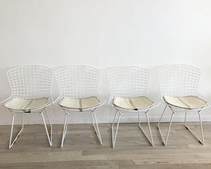 1960s Knoll Bertoia Side Chairs White on White Set of 4