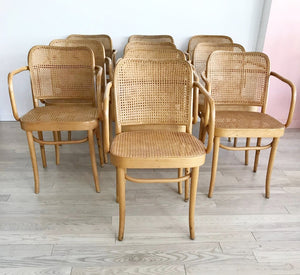 "Set of 10 Mid Century Josef Hoffmann ""Prague"" 811 Cane and Bentwood Chairs with Arms"