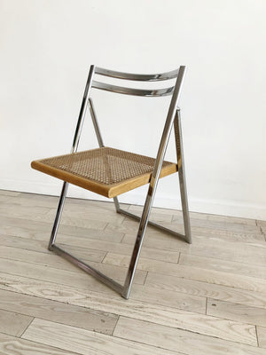 1970s Chrome + Cane Italian Folding Chair-Single