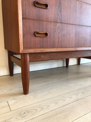 Danish 1960s Teak Tallboy Dresser w/ 7 Drawers