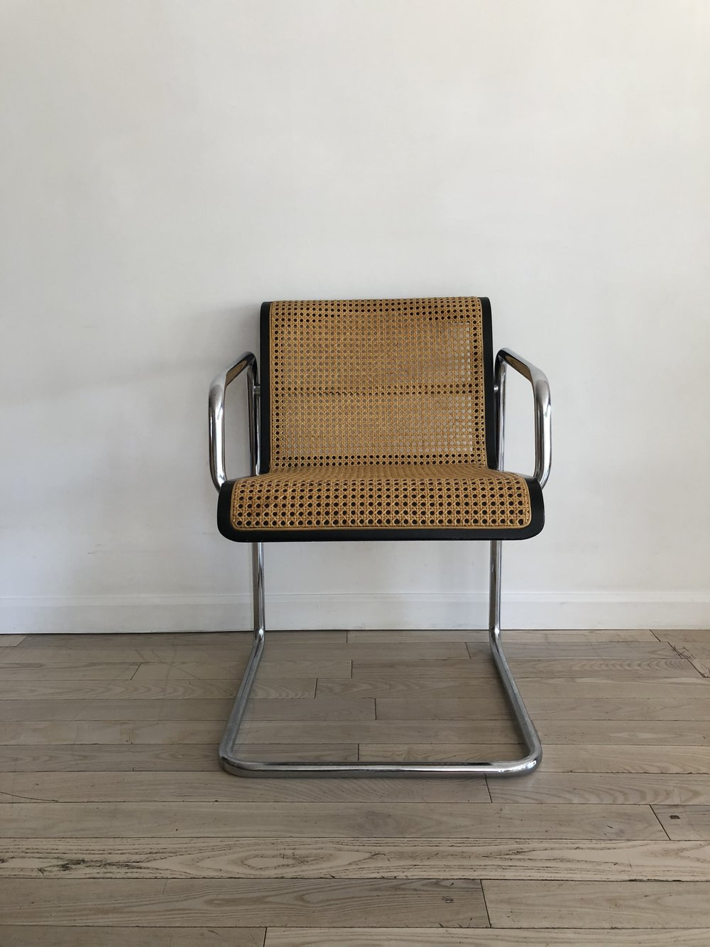 1970s Cane and Chrome Cantilever Arm Chair
