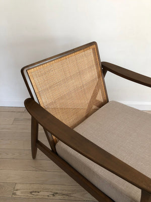 1960s Scandinavian Cane Back Lounge Chair W/ Ottoman by Folke Ohlsson for Dux in Linen