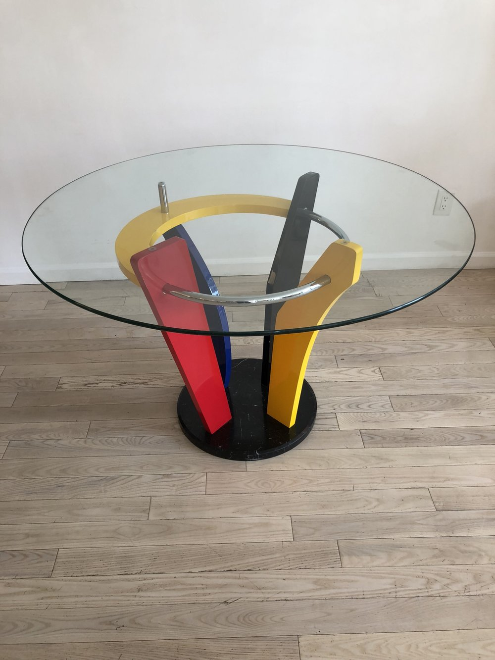 1980s Memphis Style Marble + Glass Round Dining Table