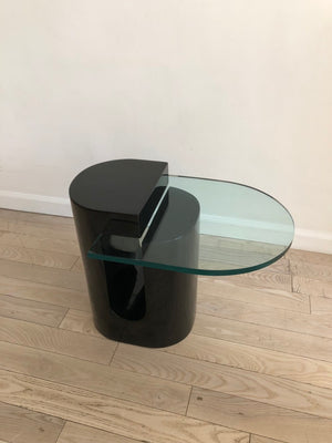 Vintage Black Lacquered Floating Glass Side Table