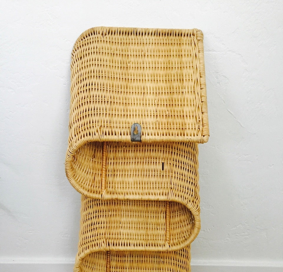 1970s Curvy Wicker Wall Mounted Magazine Rack