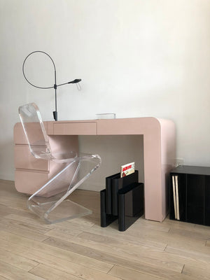 Vintage Pink Laminate Waterfall Desk