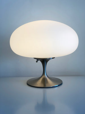 1960s Nickel and Frosted Glass Laurel Mushroom Table Lamp