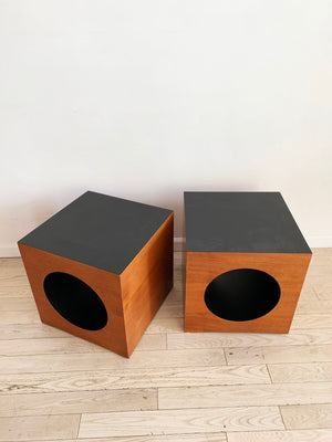 Mid Century Teak Cut Out Cube Side Tables -Each