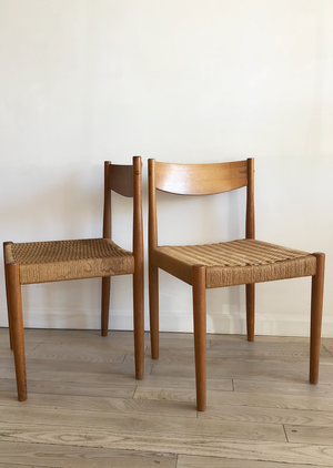 Pair of Danish Cord Teak Dining Chairs