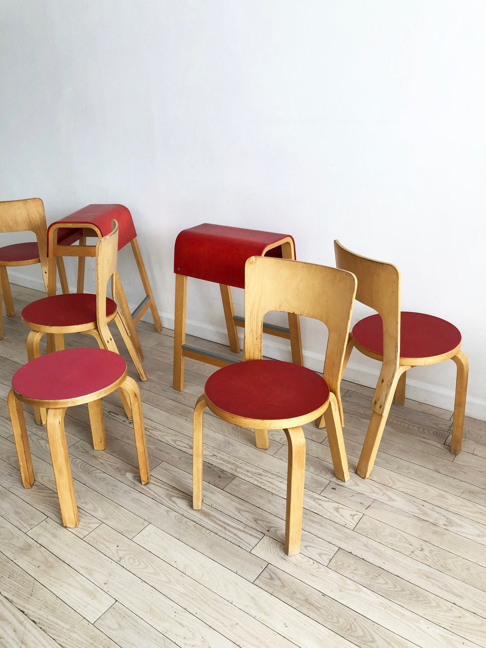 Super Old Alvar Aalto Set of 4 Chair 66 Dining Chairs-SET
