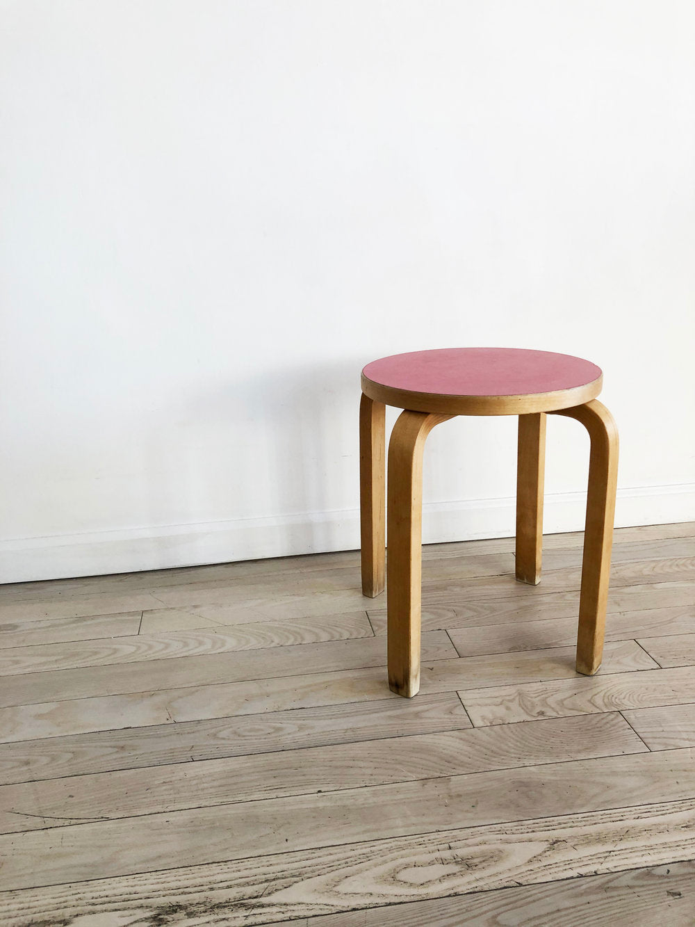 Mid Century Stool E60 By Alvar Aalto by ICF in Beech with Red Top