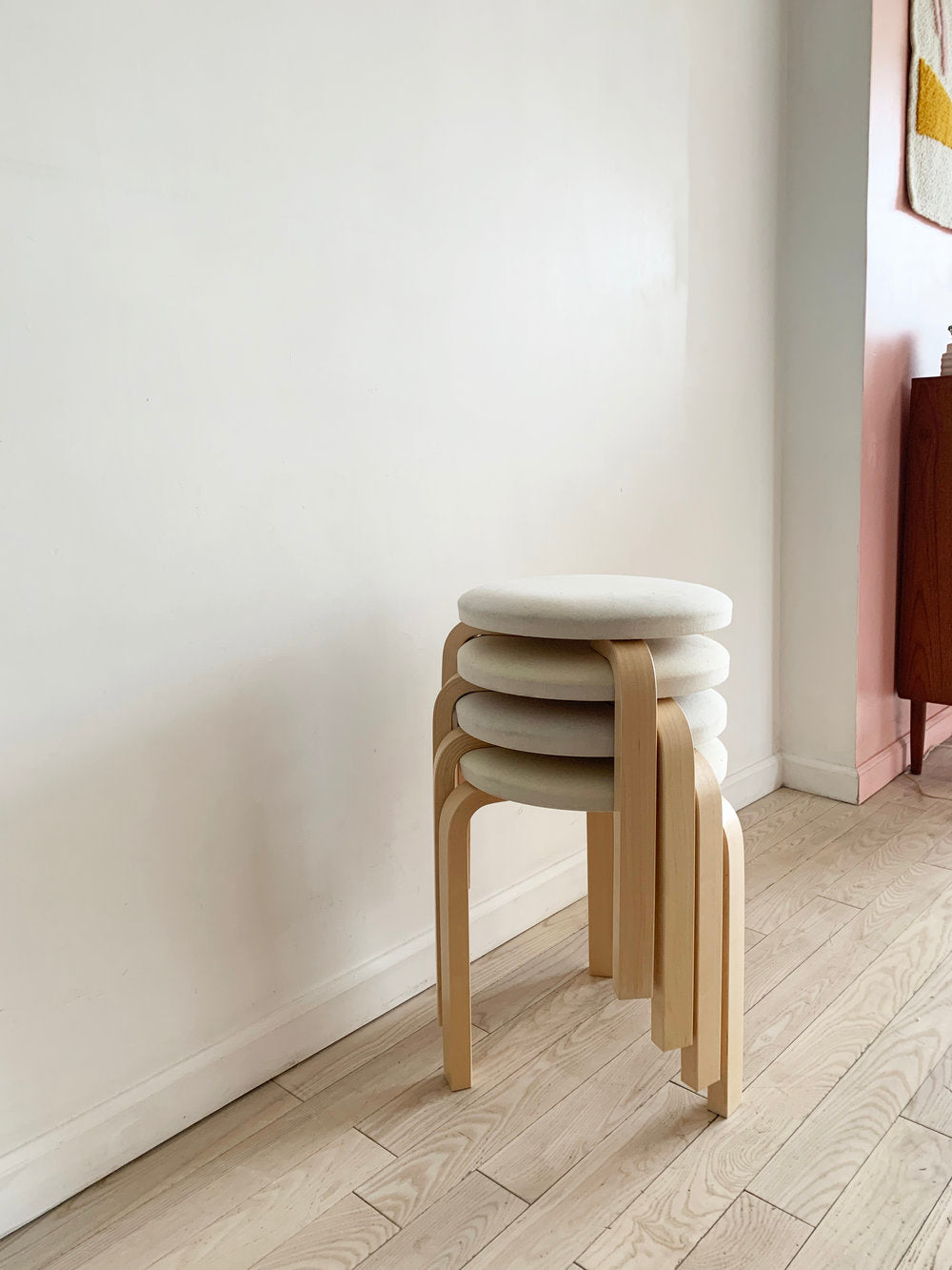 Stack of 4 Model 60 Stools by Alvar Aalto for Artek w/ Linen Tops