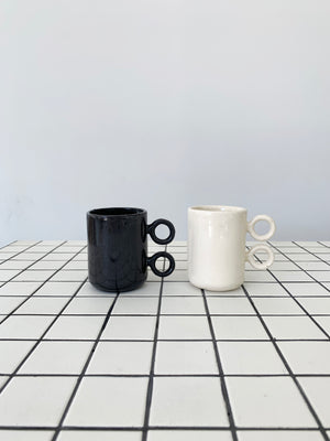 Ceramic Scissor Mugs in Black, White, or Pink