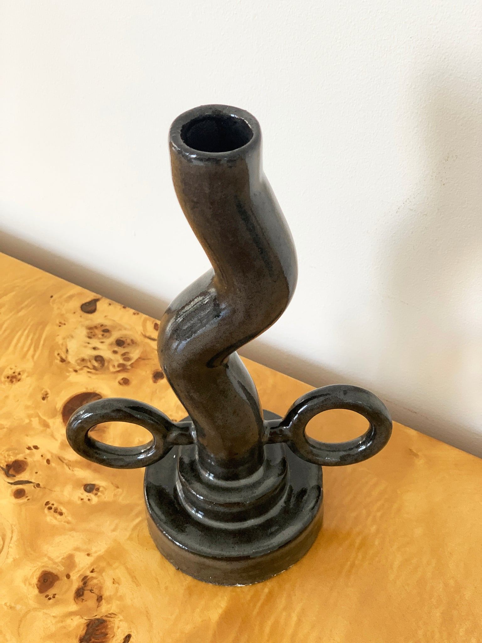 Handmade Black Glazed Ceramic BB Candle Holder