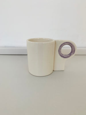 Hand Made Ceramic Mug w/ Lavender Circle Handle