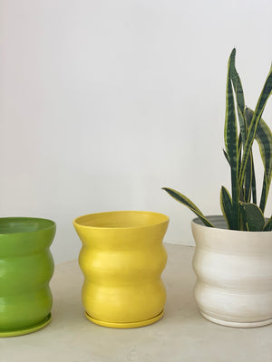 Handmade Wavy Ceramic Planter - Cream, Yellow, Green