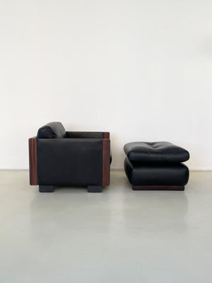 Afra & Tobia Scarpa for Cassina Black Leather and Rosewood Chair & Ottoman