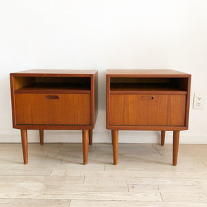 Mid Century Arne Vodder Pair of Teak Nightstands from Denmark