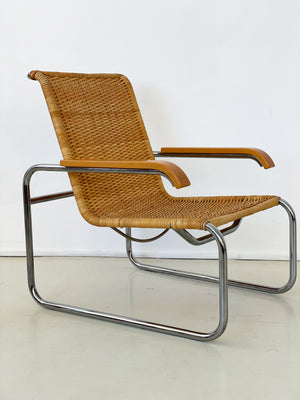 1970s Marcel Breuer B35 Rattan Arm Chair for ICF