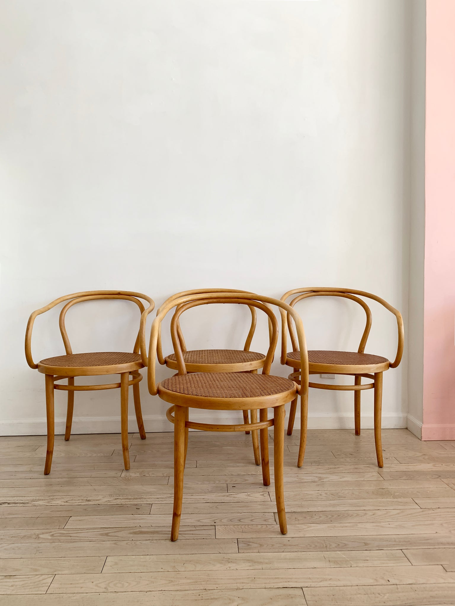 1960s Cane Thonet B9 Bentwood Arm Chairs for Stendig