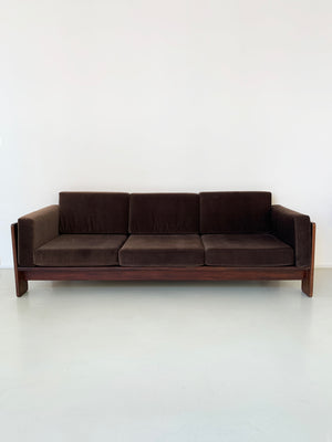 1960s Velvet and Rosewood Tobia Scarpa for Gavina Bastiano Sofa